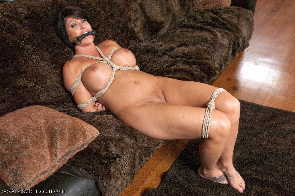 Nude brunette women in bondage — 8